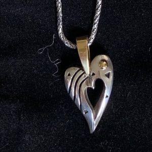 John Atencio Silver and Gold Heart Pendant